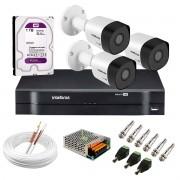 Kit 3 Câmeras VHD 3130 B G6 + DVR Intelbras + HD 1TB para Armazenamento + App Grátis de Monitoramento, Câmeras HD 720p 30m Infravermelho de Visão Noturna Intelbras + Fonte, Cabos e Acessórios