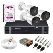 Kit 3 Câmeras VHD 3130 B G6 + DVR Intelbras + HD 2 TB para Armazenamento + App Grátis de Monitoramento, Câmeras HD 720p 30m Infravermelho de Visão Noturna Intelbras + Fonte, Cabos e Acessórios