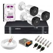 Kit 3 Câmeras VHD 3130 B G6 + DVR Intelbras + HD 3 TB para Armazenamento + App Grátis de Monitoramento, Câmeras HD 720p 30m Infravermelho de Visão Noturna Intelbras + Fonte, Cabos e Acessórios