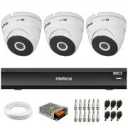 Kit 3 Câmeras VHD 3220 Dome Full HD 1080p + Gravador de Vídeo Digital iMHDX 3004 com Reconhecimento Facial 4 Canais + Acessórios