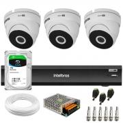 Kit 3 Câmeras VHD 3220 Dome Full HD 1080p + Gravador de Vídeo Digital iMHDX 3004 com Reconhecimento Facial 4 Canais + HD 1TB