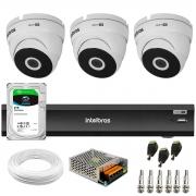 Kit 3 Câmeras VHD 3220 Dome Full HD 1080p + Gravador de Vídeo Digital iMHDX 3004 com Reconhecimento Facial 4 Canais + HD 2TB