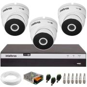 Kit 3 Câmeras VHD 3220 Full HD 1080p  + DVR 3104 Intelbras + App Grátis de Monitoramento, 20m Infravermelho de Visão Noturna Intelbras + Fonte, Cabos e Acessórios