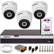 Kit 3 Câmeras VHD 3220 Full HD 1080p + DVR Intelbras MHDX 3104 + HD 1 TB + App Grátis de Monitoramento, 20m Infravermelho de Visão Noturna + Fonte, Cabos e Acessórios