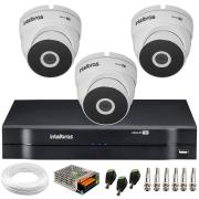 Kit 3 Câmeras VHD 3220 Full HD 1080p + DVR MHDX 1104 Intelbras  + App Grátis de Monitoramento, 20m Infravermelho de Visão Noturna + Fonte, Cabos e Acessórios