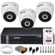 Kit 3 Câmeras VHD 3220 Full HD 1080p + DVR MHDX 1104 Intelbras  + HD 1TB + App Grátis de Monitoramento, 20m Infravermelho de Visão Noturna + Fonte, Cabos e Acessórios