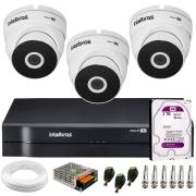 Kit 3 Câmeras VHD 3220 Full HD 1080p + DVR MHDX 1104 Intelbras  + HD 2TB + App Grátis de Monitoramento, 20m Infravermelho de Visão Noturna + Fonte, Cabos e Acessórios