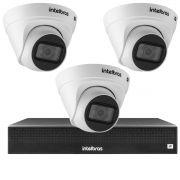 Kit 3 Câmeras VIP 1020 D G2 + NVR Intelbras + App Grátis de Monitoramento, Câmeras HD 720p 20m Infravermelho de Visão Noturna Intelbras