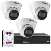 Kit 3 Câmeras VIP 1020 D G2 + NVR Intelbras + HD 1TB para Armazenamento + App Grátis de Monitoramento, Câmeras HD 720p 20m Infravermelho de Visão Noturna Intelbras + Fonte, Cabos e Acessórios