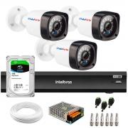 Kit 3 Câmeras Full HD 1080p 20m Infravermelho de Visão Noturna + Gravador de Vídeo Digital iMHDX 3004 com Reconhecimento Facial 4 Canais + Hd 1TB
