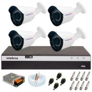 Kit 4 Câmera Bullet Híbrida 4 Em 1 Infravermelho 2k Tudo Forte 3,6mm 5MP + DVR Intelbras 3104 + App Grátis de Monitoramento