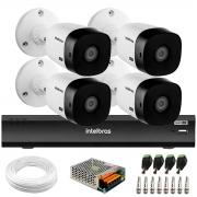 Kit 4 Câmeras 2K 4MP Intelbras VHD 1420 B HDCVI + Gravador de Vídeo Digital iMHDX 3004 com Reconhecimento Facial 4 Canais + Acessórios