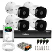 Kit 4 Câmeras 2K 4MP Intelbras VHD 1420 B HDCVI + Gravador de Vídeo Digital iMHDX 3004 com Reconhecimento Facial 4 Canais + Hd 1TB