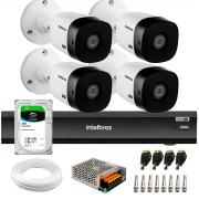 Kit 4 Câmeras 2K 4MP Intelbras VHD 1420 B HDCVI + Gravador de Vídeo Digital iMHDX 3004 com Reconhecimento Facial 4 Canais + Hd 2TB