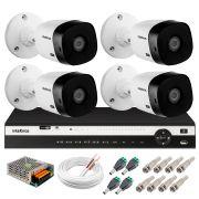 Kit 4 Câmeras 2K VHD 1420B + DVR Intelbras + App Grátis de Monitoramento, Câmeras 20m Infravermelho de Visão Noturna + Fonte, Cabos e Acessórios