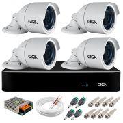 Kit 4 Câmeras  5MP + DVR Giga +  App de Monitoramento, Câmeras 30m Infravermelho de Visão Noturna Giga Security GS0047 Completo com Acessórios