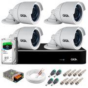 Kit 4 Câmeras 5MP + DVR Giga +  HD 1TB + App de  Monitoramento, Câmeras 30m Infravermelho de Visão Noturna Giga Security GS0047 Completo com Acessórios