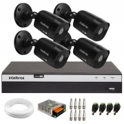 Kit 4 Câmeras Black Bullet Infravermelho Multi HD Intelbras VHD 1220 B G6 Full HD 1080p  + DVR Full HD MHDX 3104