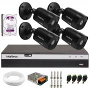 Kit 4 Câmeras Black Bullet Intelbras VHD 1220 B G6 Full HD 1080p + DVR MHDX 3104 04 Canais + HD 1 TB + Conectores e Acessórios