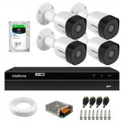 Kit 4 Câmeras Bullet HD 720p VHD 3120 B G6 3,6mm Visão Noturna 20m IP67 + DVR Gravador de Video Inteligente Intelbras MHDX 1204 4 Canais + HD 1TB