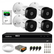 Kit 4 Câmeras Bullet HD 720p VHL 1120 B Infra 20m HDCVI + DVR Gravador de Video Inteligente Intelbras MHDX 1204 4 Canais + HD 1TB