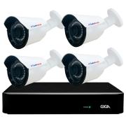 Kit 4 Câmeras Bullet Híbrida 4 Em 1 Infravermelho 2k Tudo Forte 3,6mm 5MP + DVR Giga GS0190