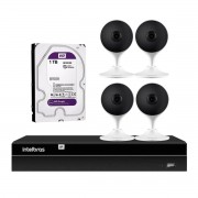 Kit 4 Câmeras com Inteligência Artificial Full HD iM3 Intelbras Branca + 1 NVR Stand Alone 04 Canais 6MP NVD 1304 Intelbras + 1 HD Interno WD Purple 1TB Surveillance SATA III
