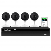 Kit 4 Câmeras com Inteligência Artificial Full HD iM3 Intelbras Branca + Gravador Digital de Vídeo Intelbras NVR NVD 1404 - 4 Canais + HD 1TB