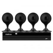 Kit 4 Câmeras de Segurança Wifi IA Full HD Mibo iM3 Intelbras Preta + 1 NVR Stand Alone 04 Canais 6MP NVD 1304 Intelbras