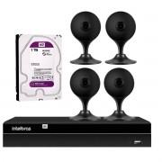 Kit 4 Câmeras com Inteligência Artificial Full HD iM3 Intelbras Preta + 1 NVR Stand Alone 04 Canais 6MP NVD 1304 Intelbras + 1 HD Interno WD Purple 1TB Surveillance SATA III