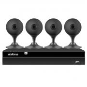 Kit 4 Câmeras com Inteligência Artificial Full HD iM3 Intelbras Preta + Gravador Digital de Vídeo Intelbras NVR NVD 1404 - 4 Canais