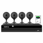 Kit 4 Câmeras com Inteligência Artificial Full HD iM3 Intelbras Preta + Gravador Digital de Vídeo Intelbras NVR NVD 1404 - 4 Canais +  HD 1TB