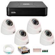 Kit 4 Câmeras de Segurança 1MP HD 720p Giga Security GS0012 + DVR HD 720p 4 em 1 Giga Security + Acessórios