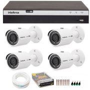 Kit 4 Câmeras de Segurança 4MP 2k Intelbras VHD 3430 B + DVR Intelbras 4K + Acessórios