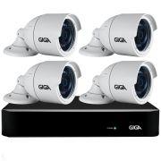 Kit 4 Câmeras Full HD + DVR Giga Security + App Grátis de Monitoramento, Câmeras GS0273 1080p 30m Infravermelho de Visão Noturna + Fonte, Cabos e Acessórios