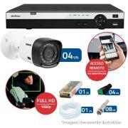 Kit 4 Câmeras de Segurança Full HD 1080p Intelbras VHD 1220B IR + DVR Intelbras Full HD 4 Ch + Acessórios