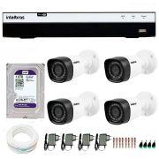 Kit 4 Câmeras de Segurança Full HD 1080p Intelbras VHD 1220B IR + DVR Intelbras Full HD 4 Ch + HD WD Purple 1TB + Acessórios