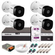 Kit 4 Câmeras de Segurança Full HD 1080p Intelbras VHD 1220B IR + DVR Intelbras Full HD 4 Ch + HD WD Purple 2TB + Acessórios