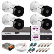 Kit 4 Câmeras de Segurança Full HD 1080p Intelbras VHD 1220B IR + DVR Intelbras Full HD 4 Ch + HD WD Purple 3TB + Acessórios