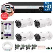 Kit 4 Câmeras de Segurança Full HD 1080p Intelbras VHD 3230 + DVR Intelbras Full HD 4 Ch +  HD WD Purple 3TB + Acessórios