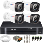 Kit 4 Câmeras de Segurança Full HD 1080p Lite 20 Metros Infravermelho + DVR Intelbras + HD + Cabos e Acessórios