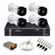 Kit 4 Câmeras de Segurança Full HD 1080p VHD 1220 B G6  + DVR Intelbras MHDX 1104 de 4 Canais 1080p Lite + Acessórios