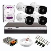 Kit 4 Câmeras de Segurança Full HD 1080p VHD 1220 B G6 + DVR Intelbras MHDX 3104 Full HD de 04 Canais + HD WD Purple 3TB + Acessórios