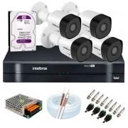 Kit 4 Câmeras de Segurança Full HD 1080p VHD 3230 B G6 + DVR Intelbras MHDX 1104 1080p de 4 Canais + Acessórios