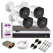 Kit 4 Câmeras de Segurança Full HD 1080p VHD 3230 B G6 + DVR Intelbras MHDX 3108 Full HD de 08 Canais + 1 HD Interno WD Purple 1TB Surveillance SATA III + Acessórios