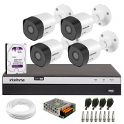 Kit 4 Câmeras de Segurança Full HD 1080p VHD 3230 B G6 + DVR Intelbras Full HD MHDX 3108 + HD Interno