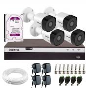 Kit 4 Câmeras de Segurança Full HD 1080p VHD 3230 B G6 + DVR Intelbras MHDX 3104 Full HD de 4 Canais + 1 HD Interno WD Purple 3TB Surveillance SATA III + Acessórios