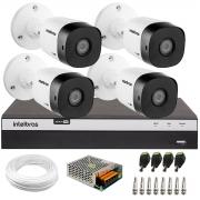 Kit 4 Câmeras de Segurança Full HD Intelbras VHD 1220 B G6 + DVR Intelbras Full HD MHDX 3108 + Acessórios