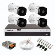 Kit 4 Câmeras de Segurança Full HD Intelbras VHD 1220 B G6 + DVR Intelbras Full HD MHDX 3108 de 8 Canais + Acessórios
