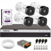 Kit 4 Câmeras de Segurança Full HD Intelbras VHD 1220 B G6 + DVR Intelbras Full HD MHDX 3108 + HD 1TB + Acessórios
